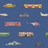 Het naadloze patroon van vervoervoertuigen Stock Afbeeldingen
