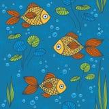 Het naadloze patroon van vissen. Stock Afbeeldingen