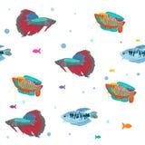 Het naadloze patroon van vissen De leuke achtergrond van de vissendieren van het beeldverhaalaquarium voor druk van de jonge geit vector illustratie