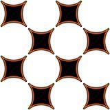 Het naadloze patroon van het voetbalontwerp in zwarte wit en oranje royalty-vrije stock fotografie
