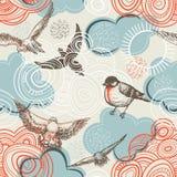 Het naadloze patroon van vogels en van wolken royalty-vrije illustratie
