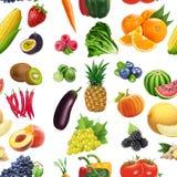 Het naadloze patroon van vruchten en van Groenten Stock Afbeeldingen