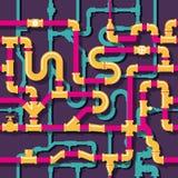 Het naadloze patroon van waterleidingen stock illustratie