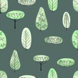 Het naadloze patroon van waterverfbomen op groene achtergrond Royalty-vrije Stock Afbeelding