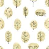 Het naadloze patroon van waterverfbomen op witte achtergrond Royalty-vrije Stock Afbeelding