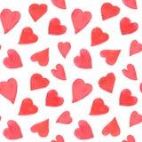 Het naadloze patroon van waterverfharten Bac van de valentijnskaartendag Stock Fotografie