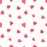 Het naadloze patroon van waterverfharten Het herhalen van bac van de Valentijnskaartendag Royalty-vrije Stock Foto's