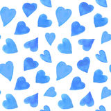 Het naadloze patroon van waterverfharten Het herhalen van de achtergrond van de Valentijnskaartendag Royalty-vrije Stock Fotografie