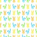 Het naadloze patroon van het waterverfkonijntje Pasen-vakantie Voor ontwerp, kaart, druk of achtergrond royalty-vrije illustratie