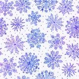 Het naadloze patroon van waterverfsneeuwvlokken Royalty-vrije Stock Foto