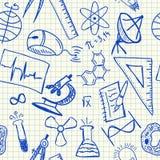 Het naadloze patroon van wetenschapskrabbels Royalty-vrije Stock Foto