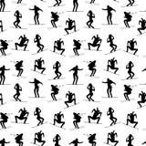 Het naadloze patroon van wintersportenatleten Zwarte de mensensilhouetten van de sportwinter royalty-vrije illustratie