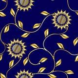 Het naadloze patroon van zonnebloem arabesque Sari stock illustratie