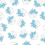 Het naadloze patroon wikkelt blauwe boog Stock Afbeelding