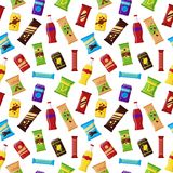 Het naadloze product van de patroonsnack voor automaat Snel voedselsnacks, dranken, noten, spaanders, sap voor de bar van de verk vector illustratie