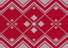 Het naadloze rode en witte gebreide patroon van de stijl Stock Afbeelding