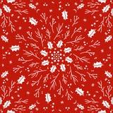 Het naadloze rode patroon van de Kerstmishulst stock illustratie
