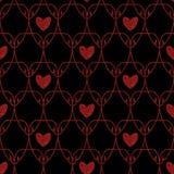 Het naadloze Rood schittert Harten Art Nouveau Pattern Stock Afbeelding