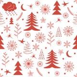 Het naadloze rood van het Kerstmispatroon Stock Foto