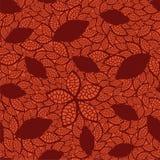 Het naadloze rood verlaat patroon op oranje achtergrond Stock Foto's