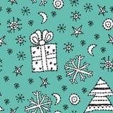 Het naadloze symbool van het patroon vastgestelde nieuwe jaar op blauw Stock Afbeeldingen