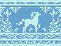 Het naadloze traditionele patroon van borduurwerk blauwe Kerstmis Stock Afbeeldingen