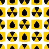 Het naadloze van de de verontreinigingspost patroon van het achtergrondkernenergieteken vector industriële elektrische symbool va stock illustratie