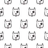 Het naadloze vector zwart-wit patroon van de bokserhond Stock Foto