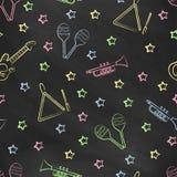 Het naadloze vectorbehang met het beeld van muzikale instrumentenmaracas, gitaar, muzikale driehoek, speelt mee Royalty-vrije Stock Foto's