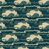 Het naadloze vectorhand getrokken grunge Japanse ontwerp van het wolkenpatroon royalty-vrije illustratie