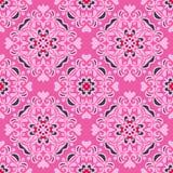 Het naadloze vectorontwerp van de patroon roze bloem Stock Afbeeldingen