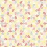 Het naadloze vectorpatroon met geometricaly plaatste, willekeurig pastelkleur gekleurde bloembloemblaadjes royalty-vrije illustratie