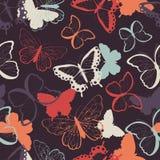 Het naadloze vectorpatroon met hand getrokken kleurrijke vlinders, silhouetteert trillend Stock Foto
