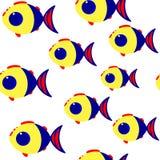 Het naadloze vectorpatroon van beeldverhaalvissen royalty-vrije illustratie