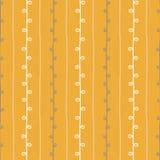Het naadloze vectorpatroon van de aardschets Gele beige en witte takjesachtergrond De hand getrokken illustratie van de de zomert Royalty-vrije Stock Afbeelding