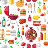 Het naadloze vectorpatroon van de barbecuegrill BBQ voedsel, materiaal en hulpmiddelenillustratie Druk of pakket modern vlak ontw vector illustratie
