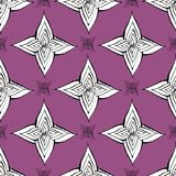 Het naadloze vectorpatroon van de cactusbloem Vectorhand getrokken purpere succulente cactusillustratie Naadloos installatiebehan stock illustratie