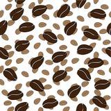 het naadloze vectorpatroon van de koffieboon Stock Afbeelding