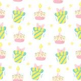 Het naadloze vectorpatroon van de verjaardagsviering Stock Foto