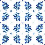 Het naadloze vectorpatroon van de waterverfaard (blauwe kleuren) Bladeren en bessenpatroon Stock Afbeelding