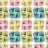 Het Naadloze Vectorpatroon van Memphis Style Geo Scribble Abstract vector illustratie
