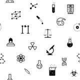 Het naadloze vlakke patroon van de chemiewetenschap royalty-vrije illustratie
