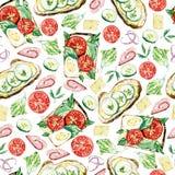 Het naadloze voedsel van het waterverfpatroon - sandwich en het vullen stock illustratie