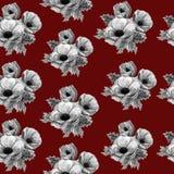 Het naadloze zwart-witte patroon van de waterverfanemoon op rode achtergrond Stof voor modieuze kleding, het patroon van de vrouw stock illustratie