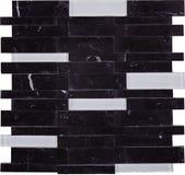 Het naadloze zwart-witte rechthoekmarmer en patroon van het glasmozaïek Stock Foto