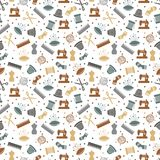 Het naaien of het breien naadloos patroonontwerp royalty-vrije illustratie