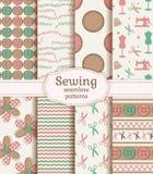 Het naaien en handwerk naadloze patronen Beeldverhaal polair met harten royalty-vrije illustratie