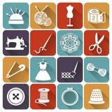 Het naaien en handwerk vlakke pictogrammen Beeldverhaal polair met harten Stock Afbeeldingen
