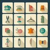 Het naaien en handwerkpictogrammen Royalty-vrije Stock Fotografie