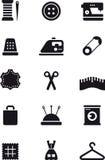 Het naaien en manier vlakke glyphpictogrammen Stock Afbeeldingen